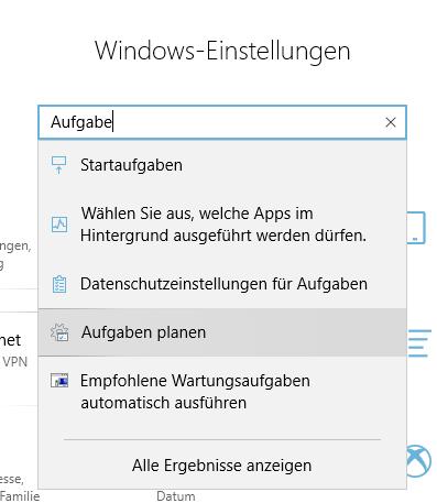 Aufgabenplaner Windows 10