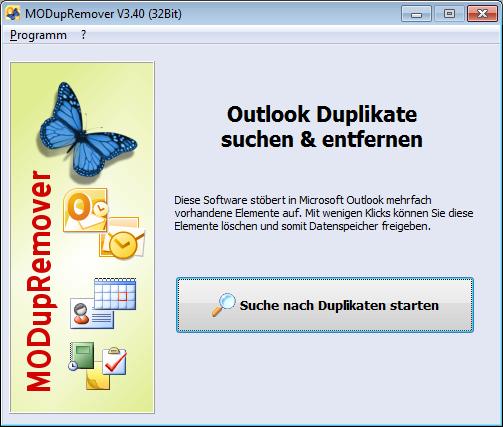 Screenshot vom Programm: MODupRemover - Outlook Duplikate löschen